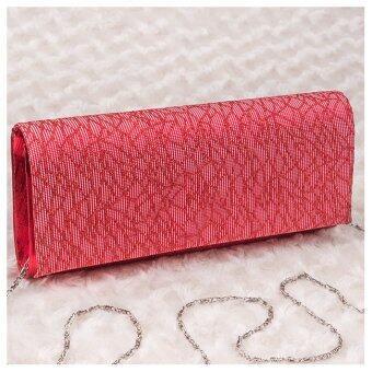 กระเป๋าออกงาน หนังเทียมลายนูนเงา เรียบหรูคลาสสิค (สีแดง)
