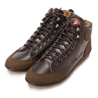 นิวแฟชั่นบุรุษรองเท้าบู๊ตอุ่นสบายเท้าแบนแบบมีเชือกผูกเสื้อสูงรองเท้าผ้าใบ