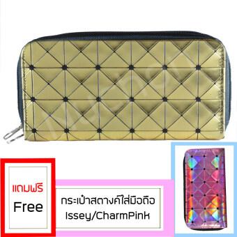 Nuchon Bag Women Wallet กระเป๋าสตางค์ กระเป๋าสตางค์ใส่มือถือ Iphone6 Plus Size L สีทอง รุ่น RichGold Bao Bao Issey แถมฟรี Nuchon Bag Women Wallet กระเป๋าสตางค์ กระเป๋าสตางค์ใส่มือถือ Iphone6Plus SizeL สีชมพูอ่อน
