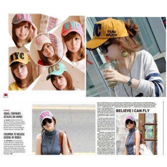 หมวกแก๊ปผู้หญิง-ชายสไคล์เกาหลี NYC รุ่น M91 สีขาว