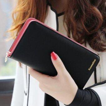 Beauty bag กระเป๋าสตางค์ใบยาว กระเป๋าเงินผู้หญิง กระเป๋าสตางค์น่ารัก รุ่น LW-045 (ดำ)(Int: One size)