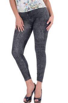 ผู้หญิงใหม่สไตล์แฟชั่นกางเกงยีนส์กางเกงยีนส์ผู้หญิงกางเกงแบบปลอม ๆ (สีดำ)