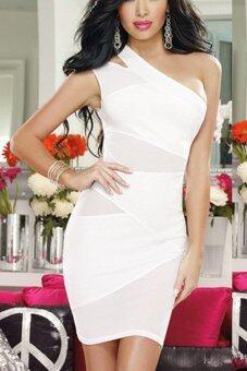 Yidabo ไหล่หญิงสาวสุดเซ็กซี่คนหนึ่งตัดตาข่ายมินิค็อคเทลเย็นแต่งตัว Clubwear แต่งตัว (ขาว)-ระหว่างประเทศ