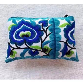 Argento88 กระเป๋างานHandmade แบบปักลายสวยงาม สีฟ้า