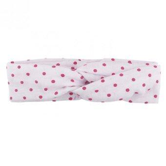 เด็กสาวเดินแฟชั่นลายจุดยางรัดผมผ้าเช่นที่คาดผมทารกกางเขนขาว
