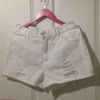 Cat Jeans กางเกงยีนส์ ขาสั้น สีขาว ขาด เอว 34