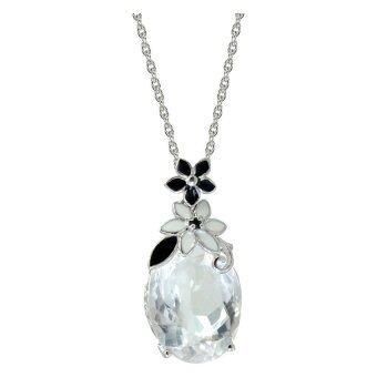 David Sigal 925 silver Oval Genuine White Quartz Gemstone,matching black and white enamel on 18