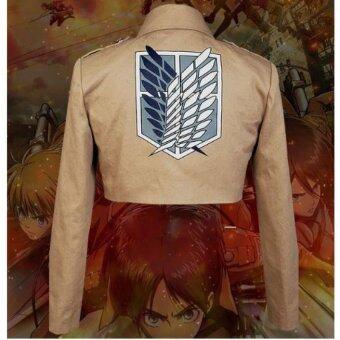 โจมตีกองทหารลาดตระเวนบนไททัน Shingeki แจ็คเก็ตเสื้อนอก Kyojin L คอสเพลย์