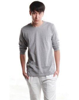 SimpleArea Premium cotton T-shirts เสื้อยืดคอกลมแขนยาว - Gray Top Dye