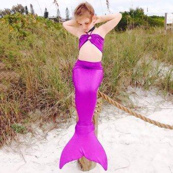 GETEK 3ชิ้นสาว ๆ บิกินี่ชุดว่ายน้ำชุดสูทหางนางเงือกชุด 3-8Years (สีม่วง)