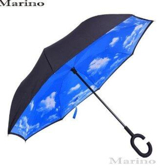 Marino ร่มหุบกลับด้าน 2 ชั้น มือจับตัว C No.0196 - สีน้ำเงินลายเฆก