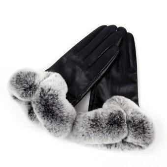 ฤดูร้อนฤดูใบไม้ร่วงพวกสัตว์ขนกระต่ายถุงมือสัมผัสกับถุงมือหนังสีดำ-ระหว่างประเทศ