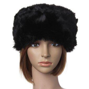 หญิงสาวชาวรัสเซียขนฤดูเล่นสกีในฤดูหนาวแฟชั่นหมวกสไตล์กัปตันแส็กสีดำที่อบอุ่น