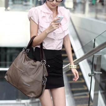 กระเป๋าถือสตรีหนังกระเป๋านักเรียนส่งกระเป๋าสะพายไหล่ตายกากี-ระหว่างประเทศ