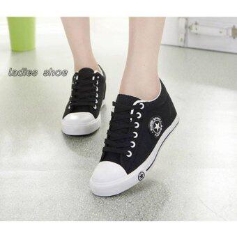 รองเท้าผ้าใบเสริมส้นแบบผูกเชือก(สีดำ)