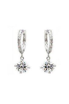 Vintage 18k white Gold filled crystal Rhinestone Earrings Silver