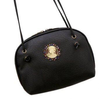 กระเป๋าถือผู้หญิงกระเป๋าสะพายหนังกระเป๋าสะพายเรโทรสารสีดำ