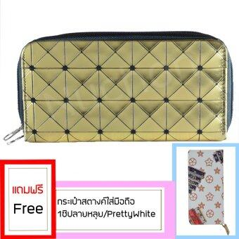 Nuchon Bag Women Wallet กระเป๋าสตางค์ กระเป๋าสตางค์ใส่มือถือ Iphone6 Plus Size L สีทอง รุ่น RichGold Bao Bao Issey แถมฟรี กระเป๋าสตางค์ กระเป๋าสตางค์ใส่มือถือ Nuchon Women Wallet Size L Iphone 6-6sPlus Size L (Monogram/White)