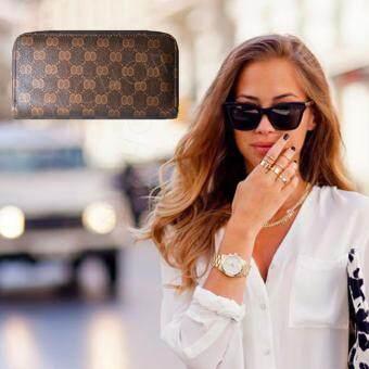 Nuchon Bag กระเป๋าตังสตางค์ ใส่มือถือ Iphone 6Plus Size Lรุ่น GICCI/Brown