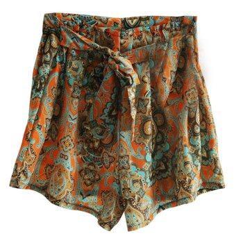สตรีกางเกงขาสั้นสำหรับ Oem ร้อนเอวสูงกระโปรงลายดอกไม้ร่วงกางเกงขาสั้น