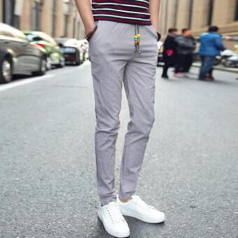 กางเกงแฟชั่นบุรุษจ็อกกิงกลางแจ้งผ้ากางเกงลำลองมากขนาดกางเกงกางเกงเกาหลีลำแสงสีเทา