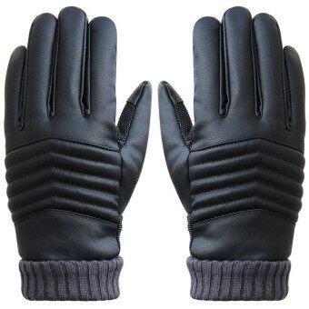ป้องกันการหลุดคนหน้าจอสัมผัสความร้อนหนาวถุงมือหนังกีฬาสีดำ-ระหว่างประเทศ