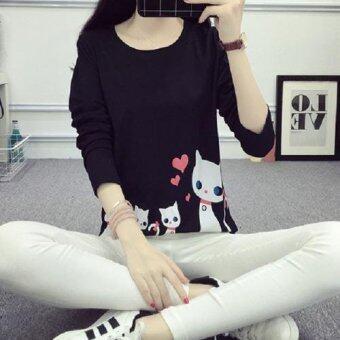 M fashion เสื้อยืดแขนยาว (สีดำ) รุ่น 4302