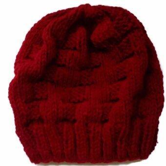 Handmade หมวกถักไหมพรมสีแดงเข้มลาย 15