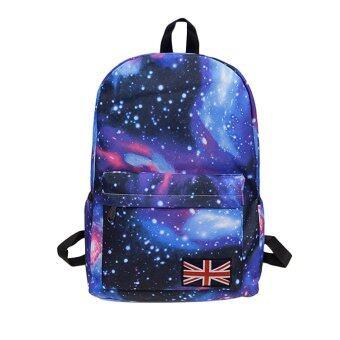 360DSC Star Galaxy Vintage Unisex Canvas Backpack School Bag Union Jack College Laptop Bags Rucksack - Blue