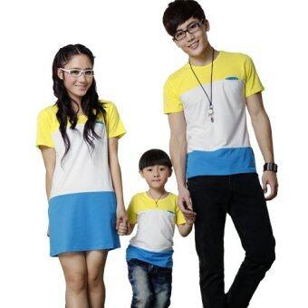 ชุดครอบครัว พ่อแม่ลูก ชายเสื้อยืด + หญิงเดรส + เด็กเสื้อยืด (รุ่น 9-11 ขวบ) แต่งลายเหลืองขาวน้ำเงิน