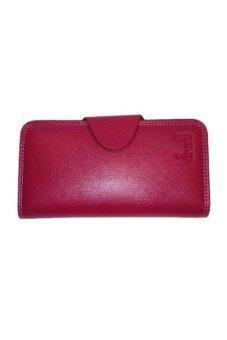 Bogesi กระเป๋าใส่บัตร-ใส่เงินหนังแท้ใบยาว รุ่น B099-1 (สีแดงกุหลาบ)