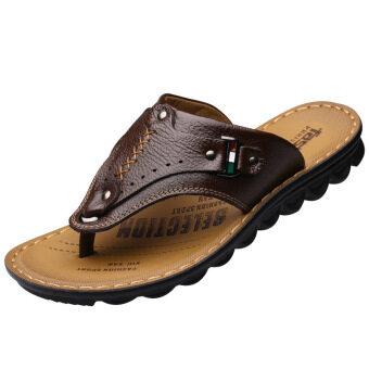 2016 Men Fashion flip flops รองเท้าแตะหนังวัวคุณภาพสูงราคาถูกผู้ชายแตะ (สีน้ำตาล)