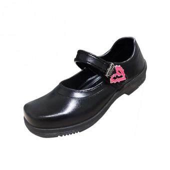 OMG Tokio รองเท้านักเรียนหญิง เข็มขัดหัวใจสีชมพู-ฟ้า หมุนได้-สีดำ