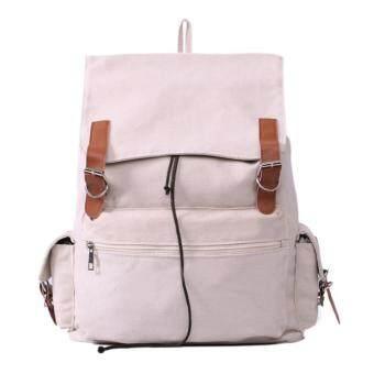 niceEshop กระเป๋าเป้เป้นักเรียนกระเป๋าผ้าใบเท่สุดเก๋สำหรับโรงสีเบจ