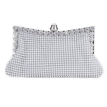 กระเป๋าถือของผู้หญิงผู้หญิงธรรมดาคลัตช์ใสถุงเย็นสาม (เงิน)