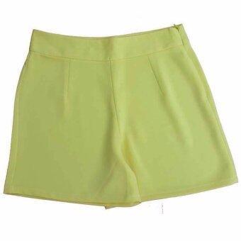 กางเกงขาสั้น ผ้าฮานาโกะ สีเหลืองอ่อน