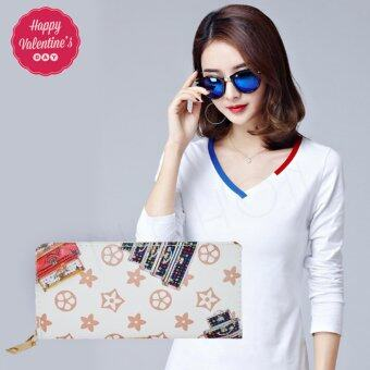 Nuchon Bag กระเป๋าตังสตางค์ ใส่มือถือ Iphone 6-6sPlus Size L (Monogram/White)