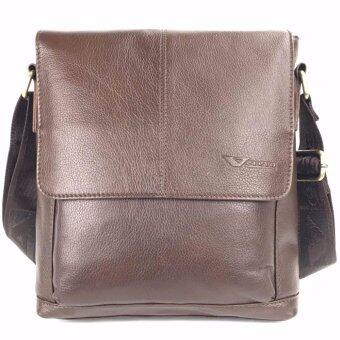 Chinatown Leatherกระเป๋าสะพายหนังแท้ฝาหน้าครึ่งน้ำตาลเข้มเส้นกลางipad2-3