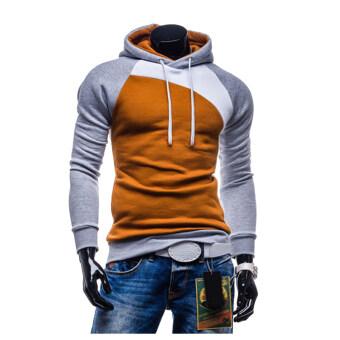 เสื้อกีฬาสีกะบุรุษมีฮู้ดเสื้อนอกรั้วชุ่มเสื้อแสงสีเทาขาวน้ำตาลอ่อน