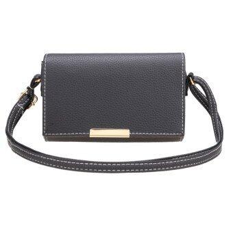 ไซเบอร์ใหม่สไตล์วินเทจแฟชั่นผู้หญิงกระเป๋าถือหนังสังเคราะห์กระเป๋าสะพาย (สีดำ)