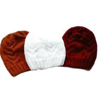 Handmade หมวกไหมพรม3ใบสีจีวรพระ สีแดงเข้มและสีขาว ลาย02