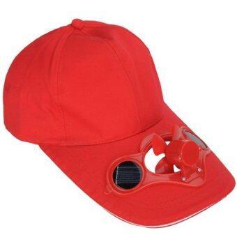 หมวกติดแอร์ หมวกโซล่าเซลล์ พลังงานแสงอาทิตย์ (สีแดง)