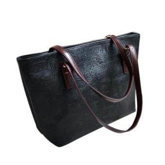 โอ้หญิงสาววินเทจแฟชั่นกระเป๋ากระเป๋าถือกระเป๋าถือใบใหญ่ตายไหล่หนัง Pu สีดำ