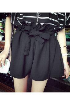 สาวเอวสูงรัดหลวมไซเบอร์กางเกงขาวเข็มขัด (สีดำ)