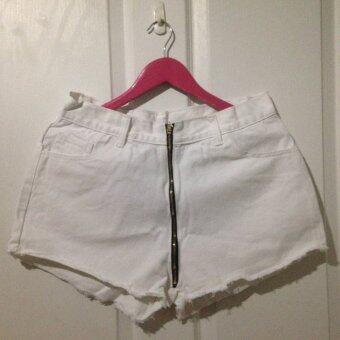 Cat Jeans กางเกงยีนส์ ขาสั้น ซิปขาว เอว 34 นิ้ว
