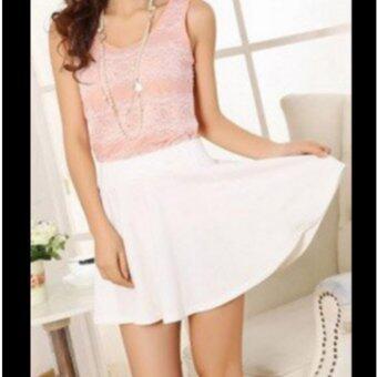 กระโปรงสั้น ซับกางเกง Colorful Pleated Skirt (White color)