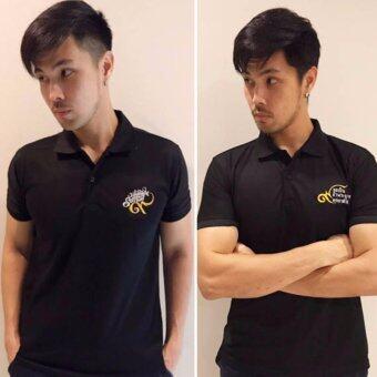 Nine One One POLO T-Shirt Black เสื้อโปโล สีดำ ปักด้วยด้าย สีทอง-ขาว ( 1แพ็ค - 2ลาย)