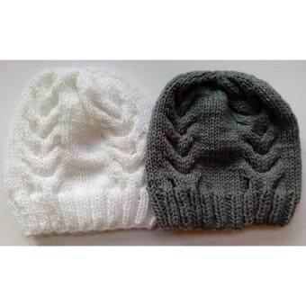 Handmade หมวกถักไหมพรมสีขาวและสีเทา ลาย02