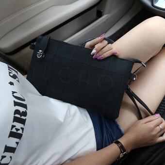 Nuchon กระเป๋าแฟชั่น กระเป๋าคล้องแขน กระเป๋าสะพาย ลายตารางสีเหลี่ยม รุ่น N8859- สีดำ