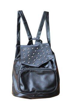 Peimm Modello Backpack กระเป๋าเป้สะพายหลัง แต่งหมุด สไตส์เกาหลี (สีดำ)